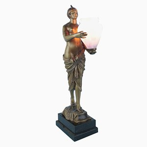 German Art Deco Spelter Figure Lamp, 1930s