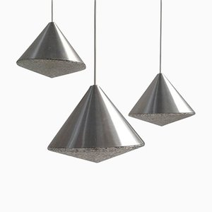 Mid-Century Cone Shaped Glass Chandeliers, 1970s, Set of 3