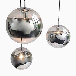 Lámparas colgantes esféricas de cristal de espejo, años 60. Juego de 3