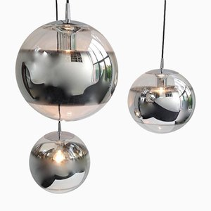 Mirrored Glass Globe Pendant Lamps, 1960s, Set of 3