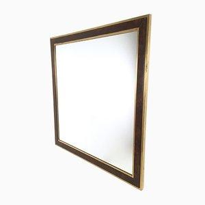 Specchio a muro con cornice in legno e ottone, Italia, anni '70
