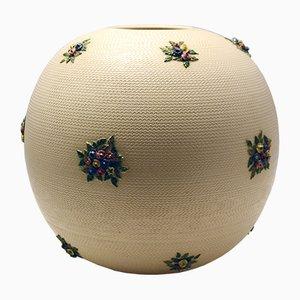 Vaso grande in ceramica con fiori, anni '40