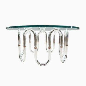 Mesa de centro con patas tubulares de cromo, años 70