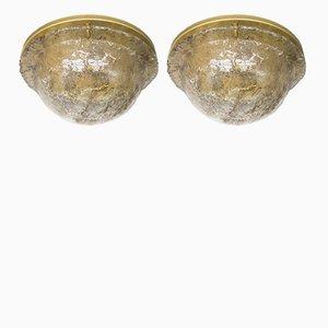 Lámparas de techo grandes de cristal ahumado de Cossack, años 60. Juego de 2