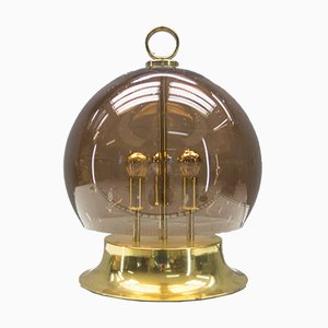 Gold Table Lamp with Mouth-Blown Smoke Globe, 1960s