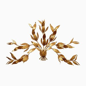 Italian Metal Leaf & Flower Wall Lamp, 1970s