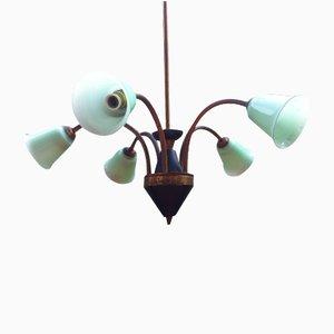 Lámpara de araña italiana de vidrio opalino verde y latón, años 50