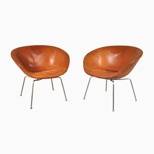 Danish Pot Chairs by Arne Jacobsen for Fritz Hansen, 1950s, Set of 2