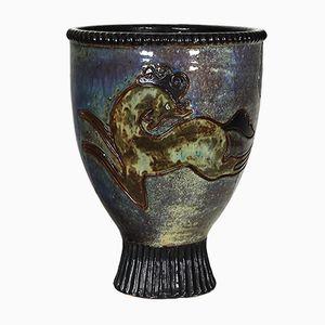 Enameled Stoneware Vase by Pierre Biron for Bouffioulx, 1940s