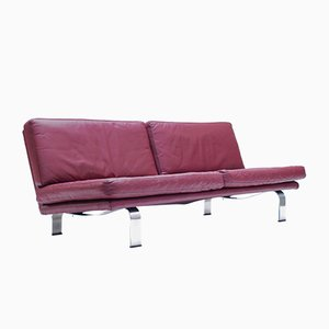 Italian Plum Leather Sofa, 1960s