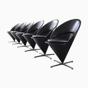Sedie coniche vintage in pelle nera di Verner Panton per Gebrüder Nehl, set di 6