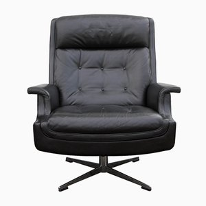 Large Leather Lounge Swiveling Chair, 1960s