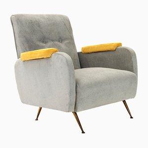 Italienischer Mid-Century Sessel mit Gelben Armlehnen, 1950er