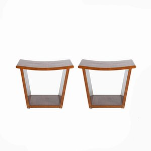 Italian Art Deco Maple & Rosewood Stools, 1930s, Set of 2