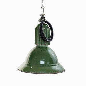 Lampe d'Usine Mid-Century en Émail Vert