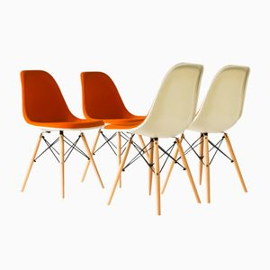 Sedia DSW Mid-Century in tessuto a trama larga di Charles & Ray Chairs Eames per Vitra, set di 4