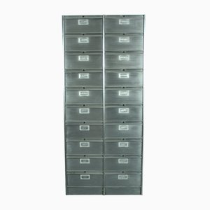 Vintage Stripped Metal 20 Drawer Cabinet