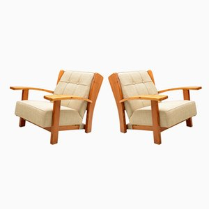 Italian Solid Larch Reclining Armchairs, 1940s, Set of 2