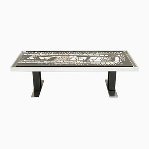 Mid-Century Marble Mosaic and Chromed Metal Coffee Table, 1960s