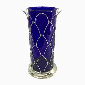 Vaso vintage in vetro di Murano blu di Cleto Munari, Italia, anni '80