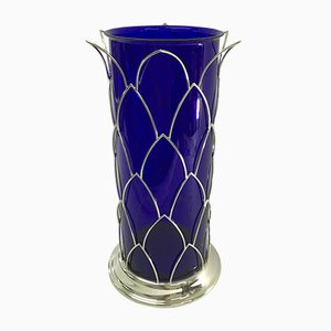 Vintage italian Blue Murano Glass Vase from Cleto Munari, 1980s