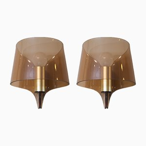 Vintage French Wall Sconces in Brass and Smoked Plexiglas, Set of 2