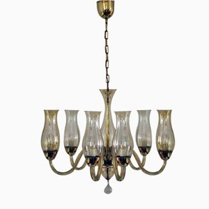 Venetian Chandelier in Silver Oxide Glass, 1930s