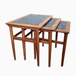 Table Gigognes en Teck & Céramique, Danemark, 1960s
