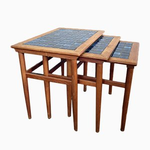 Tavolini a incastro in teak e ceramica, Danimarca, anni '60
