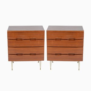 Small Mid-Century Italian Teak Chests of Drawers, Set of 2