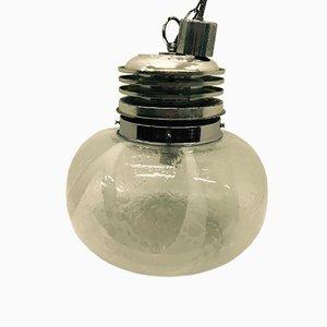 Lámpara colgante de cristal de Murano y plástico cromado, años 60