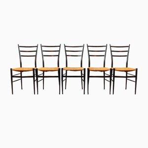 Italienische Spinetto Chiavri Esszimmerstühle, 1950er, 5er Set