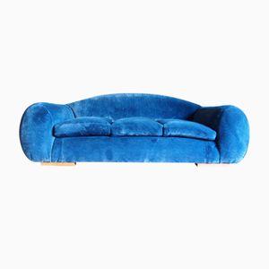 Blaues Französische Mid-Century Samt Sofa