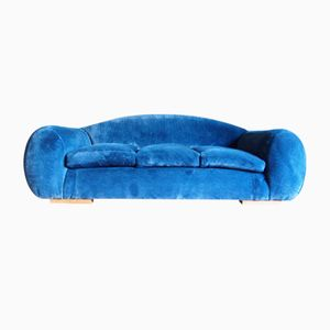 Mid-Century French Blue Velvet Sofa