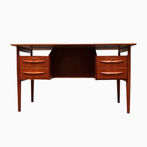 Mid-Century Danish Teak Floating Top Free Standing Desk by Gunnar Nielsen Tibergaard for Tibergaard