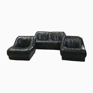Italian Leather Living Room Set, 1970s