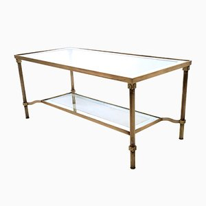 Italian Two-Tiered Brass & Glass Coffee Table, 1950s