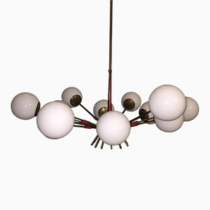 Mid-Century Italian Red and Opaline Glass Sputnik Chandelier, 1950s