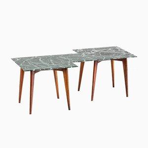 Tavolino da caffè geometrico con ripiano in marmo verde, Italia