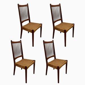 Mid-Century Stühle aus Teak und Schilfrohr, 1960er, 4er Set