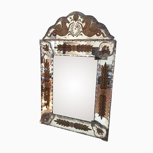 Vintage Neo-Baroque Eglomise Mirror from Robert Pansart, 1945