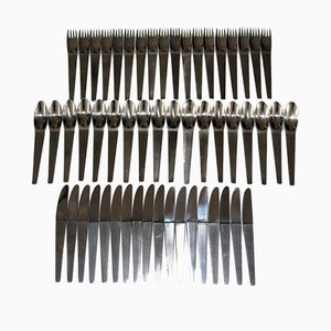 Mid-Century 2060 Stainless Steel Cutlery Set for 6 People by Auböck for Amboss, 1955, Set of 18