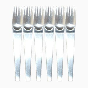 Mid-Century Stainless Steel 2060 Kake Forks by Auböck for Amboss, 1955, Set of 6