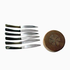 Couteaux à Fruits Mid-Century avec Support par Auböck pour Amboss, 1969, Set de 6