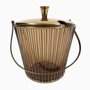 Vintage Messing und Rauchglas Bowle Schüssel