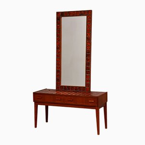 Vintage Danish Dressing Table in Teak and Glazed Stoneware