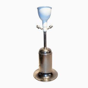 Lámpara de mesa Art Déco grande de metal bañado en plata, años 30