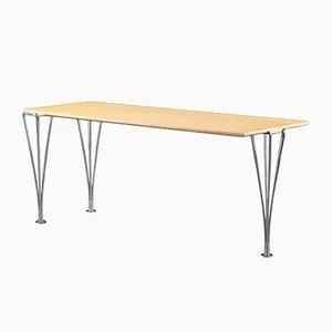 Tavolino da caffè rettangolare vintage in acciaio cromato tubolare e impiallacciato in frassino di Piet Hein & Bruno Mathsson per Mathsson International AB