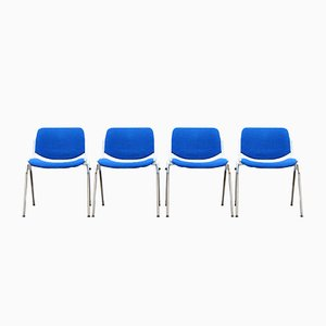 Chaises de Salle à Manger Bleues par Giancarlo Piretti pour Castelli, Italie, 1980s, Set de 4