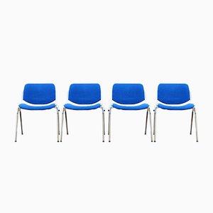 Sedie da pranzo blu di Giancarlo Piretti per Castelli, Italia, anni '80, set di 4